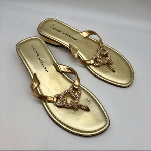 Athena Alexander Gold jeweled Thong Sandals